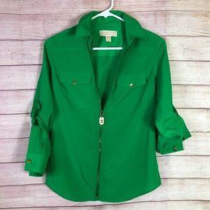 Michael Kors Green Zip Up Blouses XS